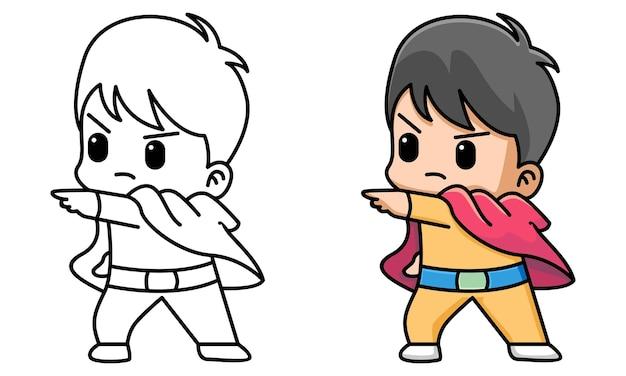 Página para colorir de super-herói de menino fofo para crianças
