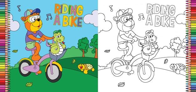 Página para colorir de tigre, andar de bicicleta com cobra no parque