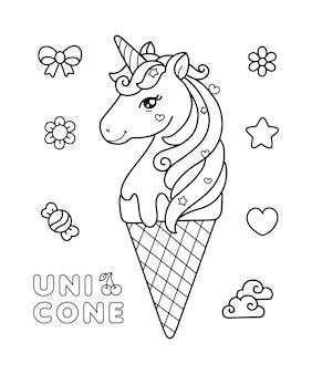 Página para colorir de unicórnio sorvete de unicórnio