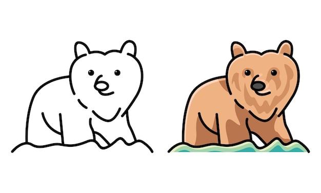 Página para colorir de urso fofo para crianças