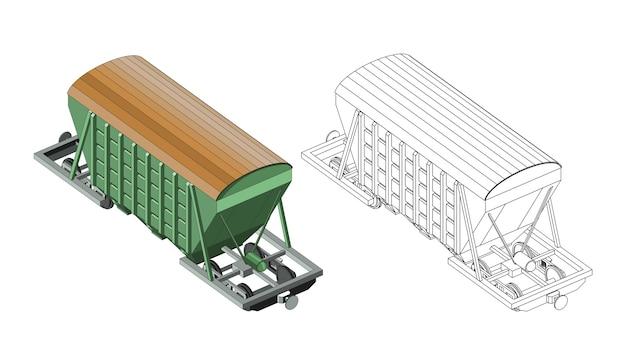 Página para colorir de vetor com frete de carvão modelo 3d carruagem ferroviária vista frontal isométrica. vetor gráfico de trem retrô vintage. isolado. página para colorir e trem colorido