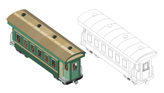 Página para colorir de vetor com modelo de passageiro 3d carruagem ferroviária. vista isométrica. vetor gráfico de trem retrô vintage. isolado. página para colorir e trem colorido.