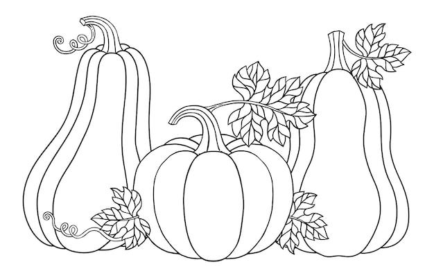 Página para colorir de vetor. ilustração em vetor feliz halloween abóboras fofas para seu projeto para o feriado