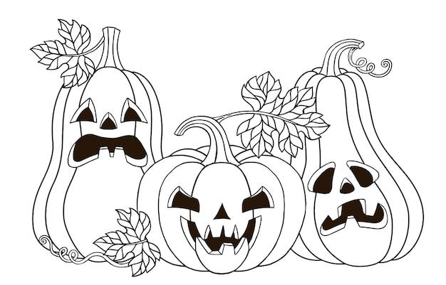 Página para colorir de vetor. monstro de abóboras fofo com um sorriso horrível esculpido. ilustração em vetor feliz halloween em estilo cartoon para seu projeto para o feriado Vetor Premium