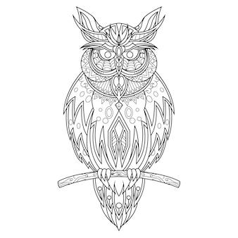 Página para colorir desenhada por coruja