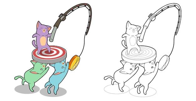 Página para colorir desenho animado kawaii 3 gatos