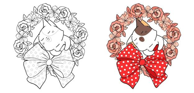 Página para colorir desenho de gato com coroa de flores