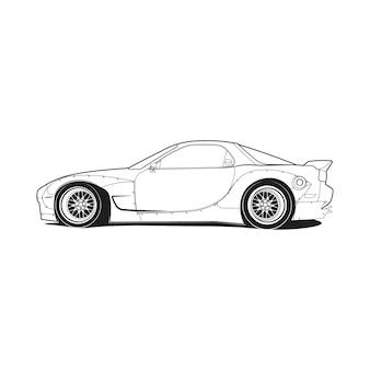 Página para colorir desenho de linha de contorno de carro