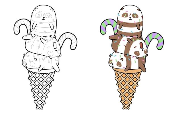 Página para colorir desenho de sorvete de panda
