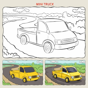 Página para colorir do mini caminhão no fundo com duas amostras de colorir