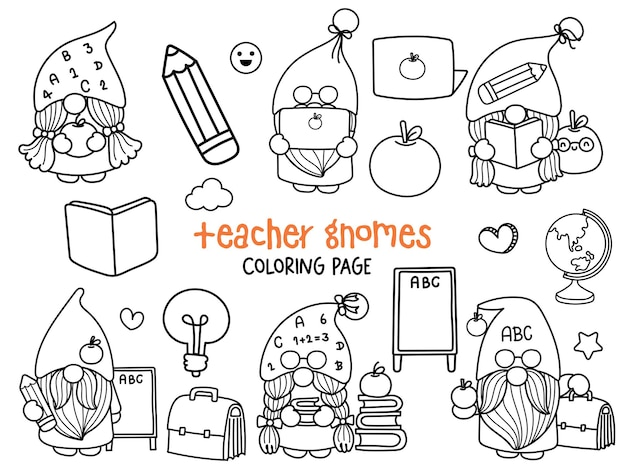 Página para colorir do professor gnomes doodle school gnome