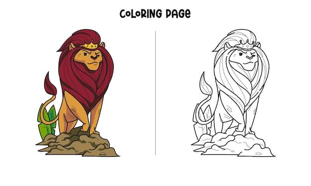 Página para colorir do rei leão real Vetor Premium
