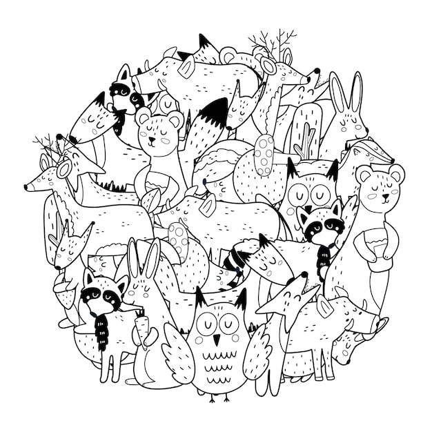 Página para colorir em forma de círculo com animais da floresta