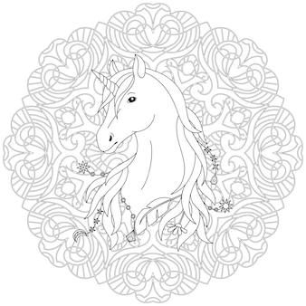 Página para colorir em preto e branco do unicórnio com fundo de mandala
