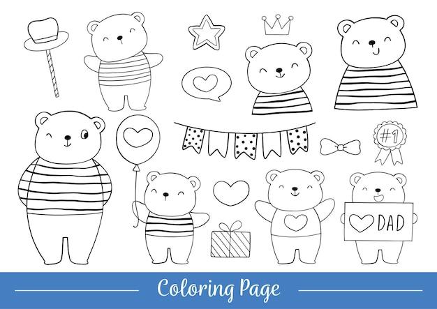 Página para colorir feliz pai urso e filho para o dia dos pais