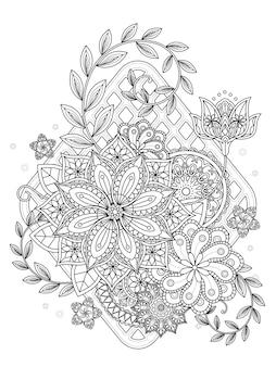 Página para colorir floral atraente em linha requintada