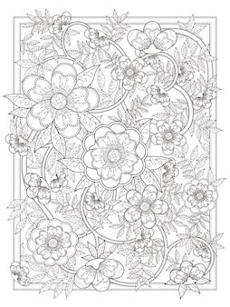 Página para colorir floral retrô e elegante em linha requintada