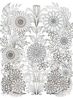 Página para colorir floral retrô em linha requintada