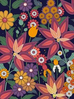 Página para colorir floral tropical atraente em linha requintada