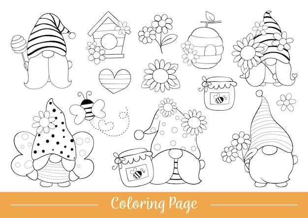 Página para colorir gnomo fofo