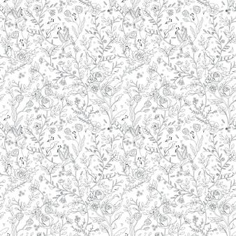 Página para colorir graciosa sem costura padrão floral em estilo requintado