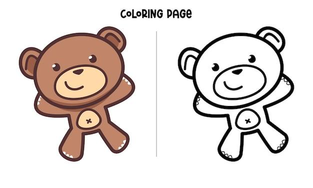 Página para colorir happy brown bear