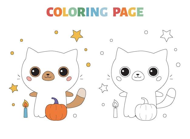 Página para colorir infantil com um gato fofo fantasiado