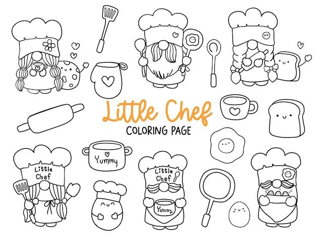 Página para colorir little chef gnome doodle kitchen gnome