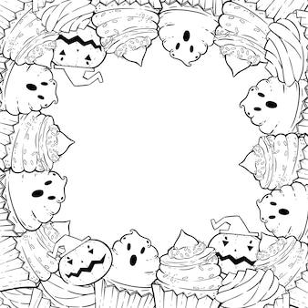 Página para colorir: moldura com cupcakes de halloween, creme, morcego, abóbora, chapéu de bruxa.