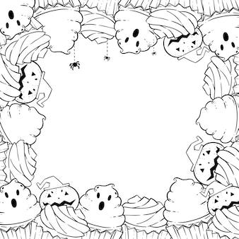 Página para colorir: moldura com cupcakes de halloween, creme, morcego, abóbora