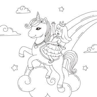Página para colorir o unicórnio e a princesa