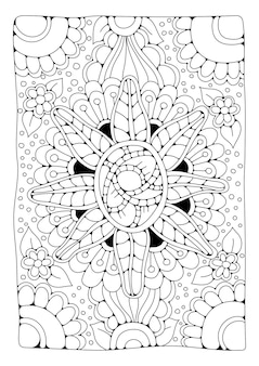Página para colorir ornamento floral art line