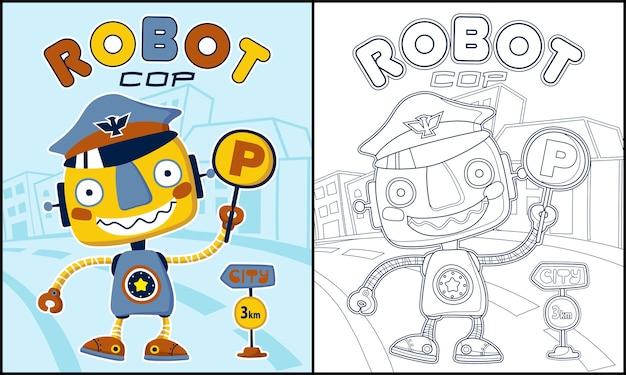 Página para colorir ou livro com desenho animado robô engraçado