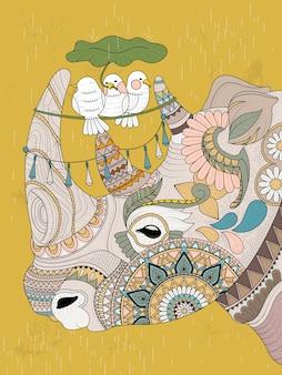 Página para colorir para adultos adorável rinoceronte com pássaros