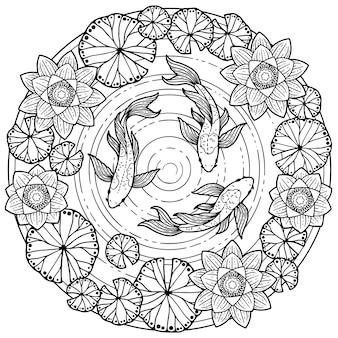 Página para colorir para adultos. fundo de verão tropical com peixes koi e flores de lotos