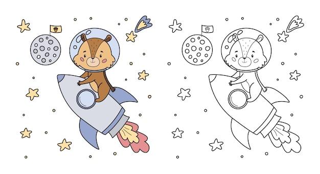 Página para colorir para crianças com um esquilo bonito dos desenhos animados no foguete