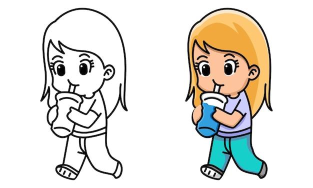 Página para colorir para crianças de menina fofa e kawaii beber chá com leite boba