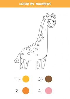 Página para colorir por cores. girafa bonito dos desenhos animados.
