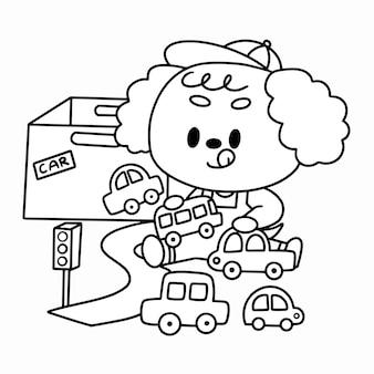 Página para colorir premium de pequeno poodle brincando com brinquedos