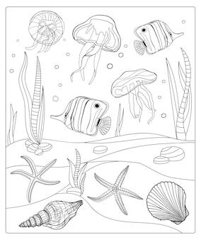 Página para colorir subaquática contorno marinho com peixes tropicais, conchas, medusas e estrelas do mar
