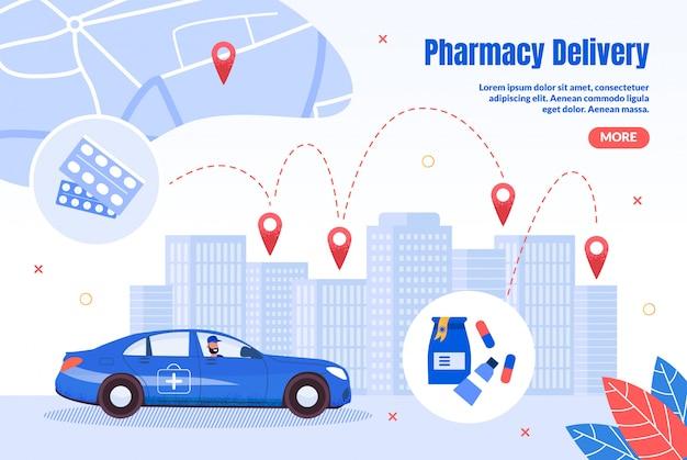 Página plana de entrega expressa de farmácia