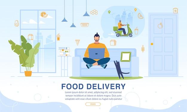 Página que oferece comida serviço de entrega em domicílio online