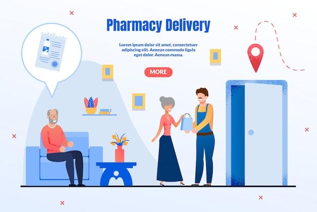 Página serviço de entrega de mercadorias de farmácia