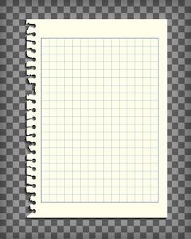 Página vazia do caderno quadriculado com borda rasgada. maquete de papel de carta. elemento de design gráfico para texto, propaganda, matemática, doodle, esboço, scrapbooking. pedaço de papel de damas. ilustração vetorial realista