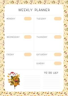 Página vazia do planejador semanal
