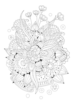 Página vertical para colorir. ilustração floral preto e branco.