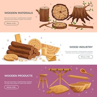 Página web da indústria da madeira 3 banners horizontais com utensílios de cozinha fabricados com material ecológico