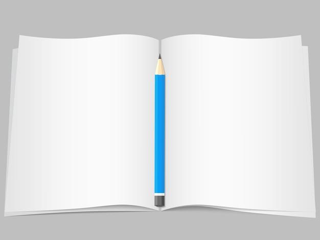 Páginas abertas em branco com lápis
