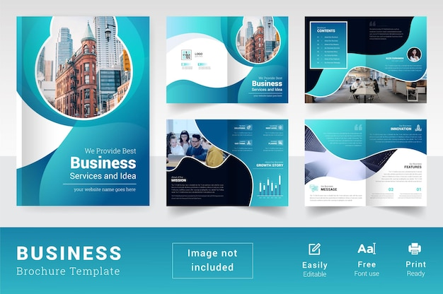 Páginas coloridas e modernas, modelo de folheto corporativo, resumo de 08 páginas, layout de negócios
