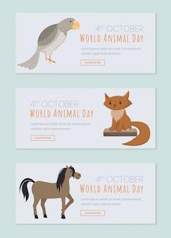 Páginas de aterrissagem do dia dos animais do mundo ajustadas. salvando animais domésticos e selvagens, evento aves domesticadas